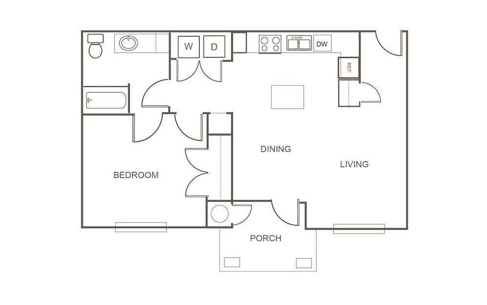 A1 - 1 bedroom floorplan layout with 1 bath and 834 square feet (1st floor 2D)