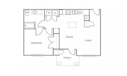 A1 - 1 bedroom floorplan layout with 1 bath and 834 square feet