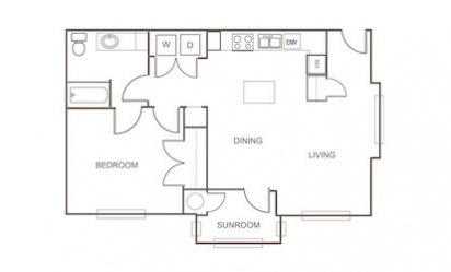 A1 Alternate - 1 bedroom floorplan layout with 1 bath and 834 square feet