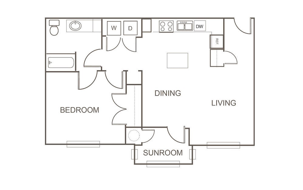 A2 - 1 bedroom floorplan layout with 1 bath and 824 square feet (1st floor 2D)