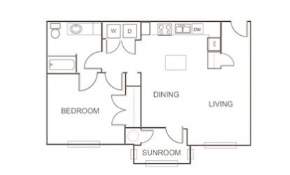 A2 - 1 bedroom floorplan layout with 1 bath and 824 square feet