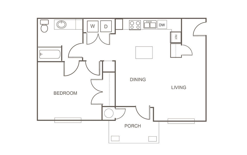 A3 - 1 bedroom floorplan layout with 1 bath and 781 square feet (1st floor 2D)