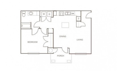A3 - 1 bedroom floorplan layout with 1 bath and 781 square feet