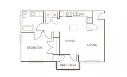 A4 - 1 bedroom floorplan layout with 1 bath and 781 square feet