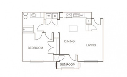 A5 - 1 bedroom floorplan layout with 1 bath and 814 square feet