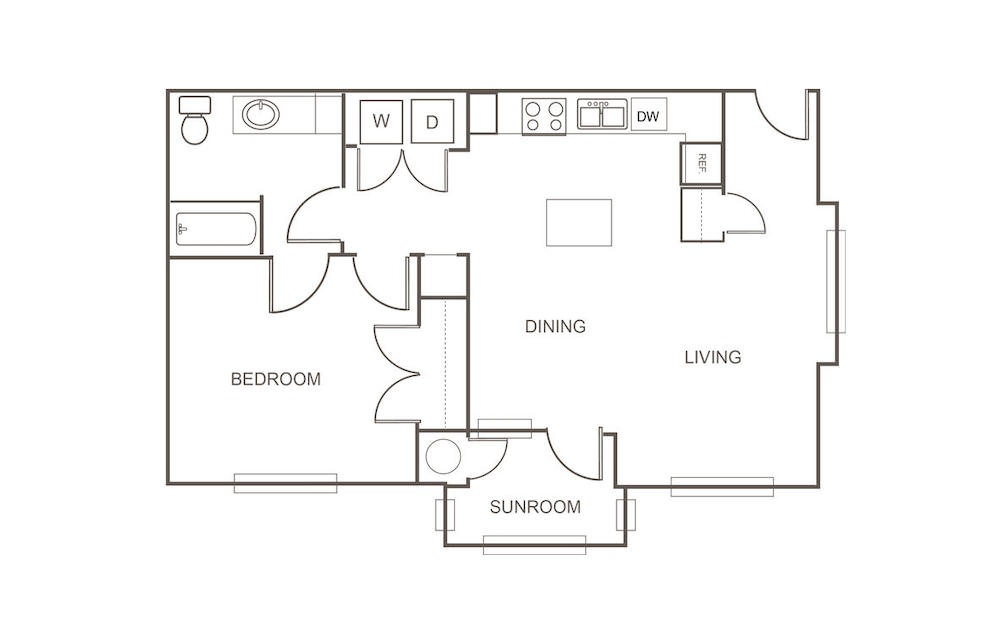 A6 - 1 bedroom floorplan layout with 1 bath and 834 square feet (1st floor 2D)