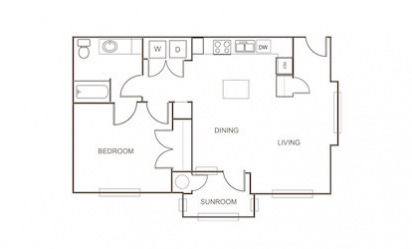 A6 - 1 bedroom floorplan layout with 1 bath and 834 square feet