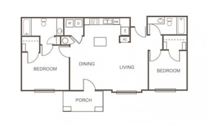B1 - 2 bedroom floorplan layout with 2 bath and 1073 square feet
