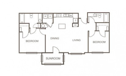B2 - 2 bedroom floorplan layout with 2 bath and 1137 square feet
