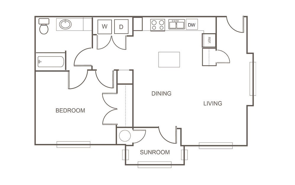 A1 Alternate - 1 bedroom floorplan layout with 1 bath and 834 square feet (1st floor 2D)