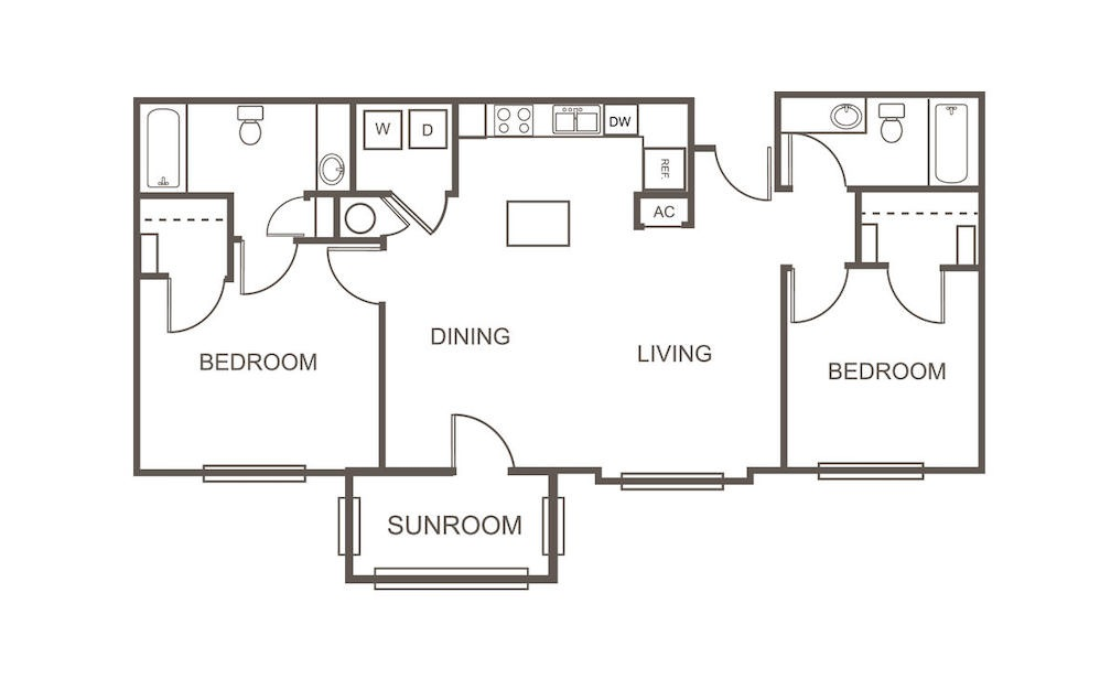 B2 - 2 bedroom floorplan layout with 2 bath and 1137 square feet (1st floor 2D)